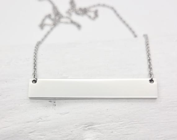 Silver Horizontal Bar Necklace stainless steel