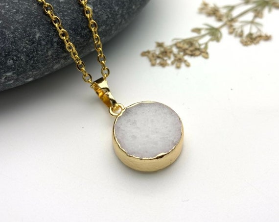 White Agate Necklace round gold dipped pendant and stainless steel chain