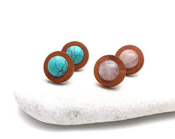 Turquoise or Rose Quartz and Wood stainless steel round studs earrings