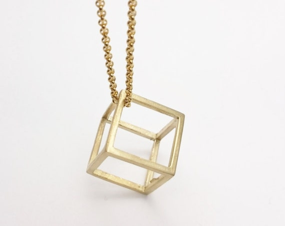 Gold Cube Minimalist Necklace stainless steel chain raw brass cube pendant 3D//Long Cube Necklace//Minimal geometric long cube gold necklace