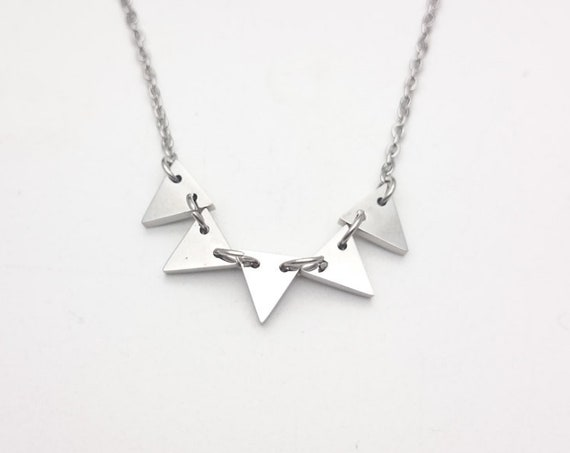 Triangles Necklace Silver steel platinum plated