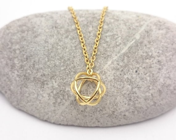 Gold round ball geometric Necklace stainless steel chain//Gold plated 24k brass round pendant 3D minimal geometric necklace//Small necklace