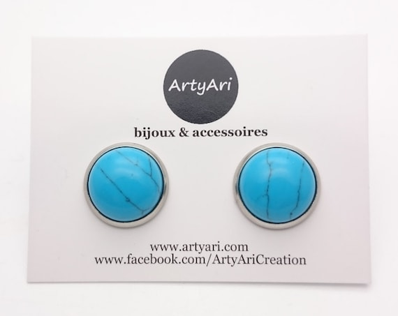 Turquoise and silver stainless steel round earrings studs 12 mm hypoallergenic