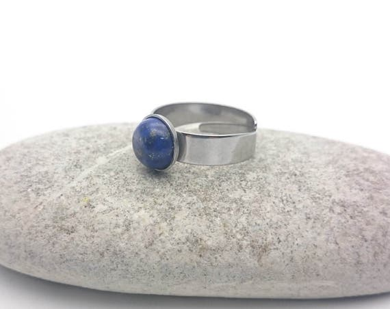 Blue Lapis Lazuli ring silver adjustable hypoallergenic 8 mm//Lapis Lazuli steel ring//Round blue cabochon silver simple surgical steel ring