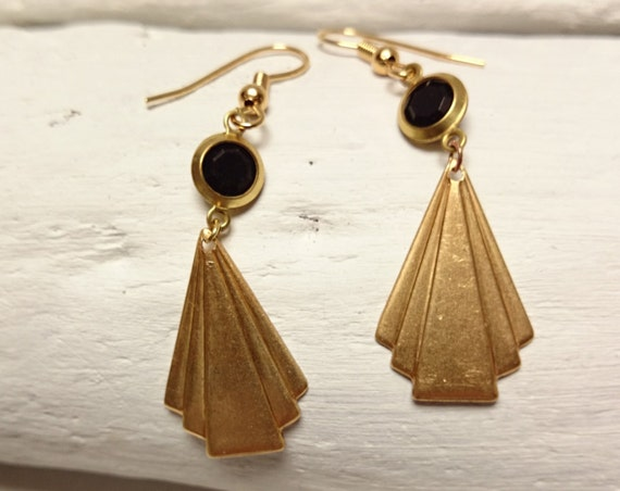 Gold Black Triangle Art Deco Retro Earrings, brass and lucite pendants and steel hooks