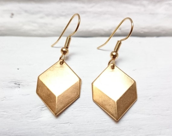 Gold brass cube dangle earrings//Geometric Cube Minimalist Pendants Earrings//Chevron square steel earwires hypoallergenic diamond earrings