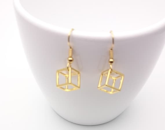 Cube Earrings gold plated 24k and surgical steel closures hypoallergenic