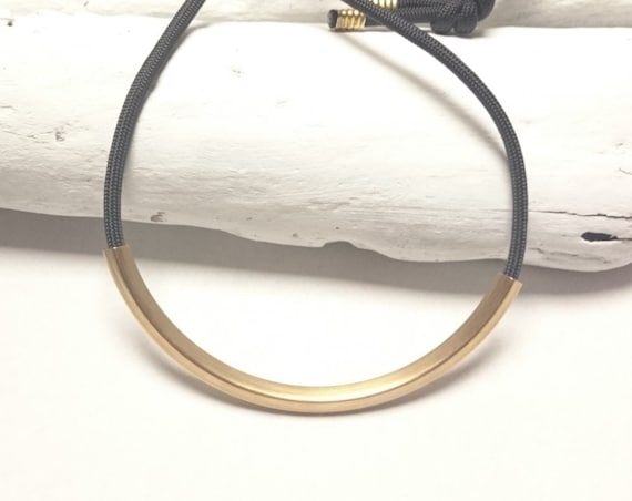 Long Black Necklace Rope Gold Brass Tube