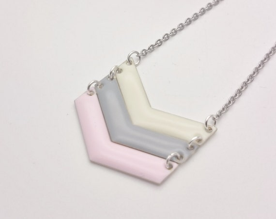 Pastel Enamel Triple Chevron Necklace Cream Grey Pink silver stainless steel chain//Hypoallergenic necklace//V necklace//Chevron pendant