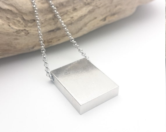 Silver Brass Rectangle Bar Necklace//Geometrical Silver Necklace stainless steel Chain//Minimalist silver industrial necklace//Cube necklace