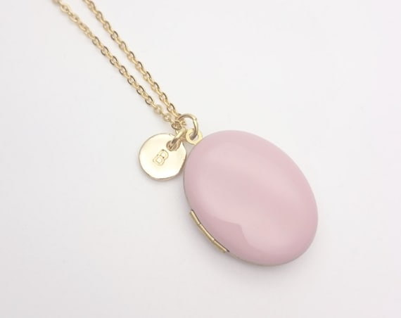Personalized Pink Enamel Oval Photo Locket Necklace with gold surgical steel chain