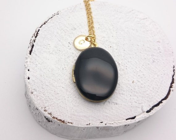 Personalized Black Enamel Oval Photo Locket Necklace with gold surgical steel chain