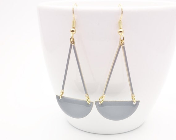 Gray Enamel earrings//Long geometric semi circle gold steel closures dangles//Grey enamel Hypoallergenic earrings//Grey graphic Earrings