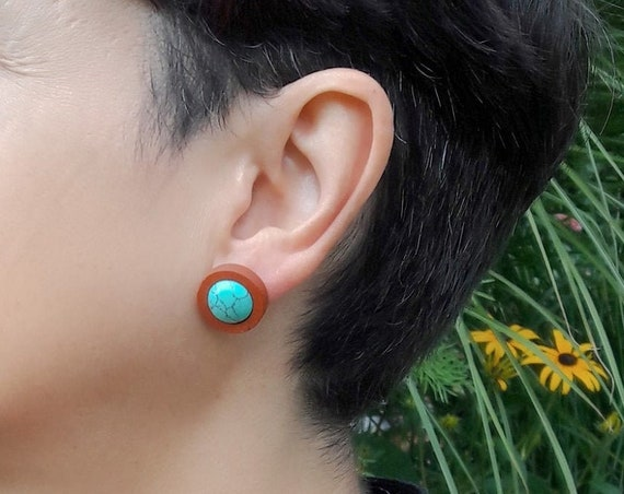 Earrings Turquoise or Rose Quartz and Wood stainless steel round studs