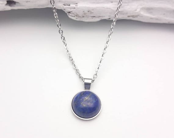 Lapis lazuli round blue necklace, silver tone steel chain