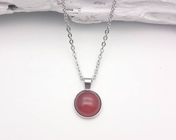 Carnelian brown red orange silver short necklace//Carnelian silver steel round necklace//Hypoallergenic carnelian gem 12mm silver necklace