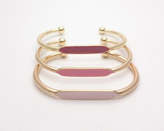 Pink color hand painted golden brass adjustable bangle bracelet//Gold pink ID bangles cuff hypoallergenic stacking thin minimalist bracelet