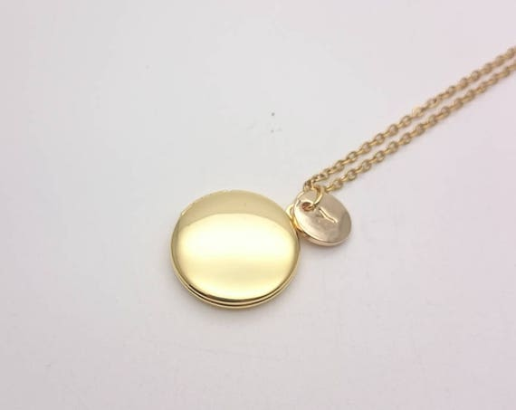 Personalized Photo Locket Necklace, Golden brass Round Small Pendant with gold steel chain