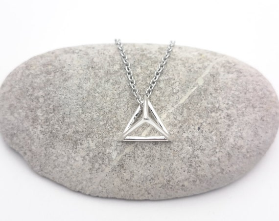 Silver plated triangle 3D geometric Necklace and stainless steel chain
