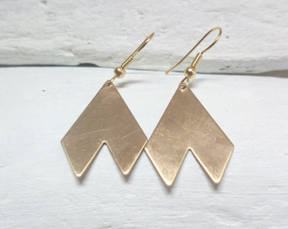 Gold Geometric Minimalist Pendants Long Earrings raw brass Chevron//Big Brass Triangle earrings stainless steel earwires hypoallergenic