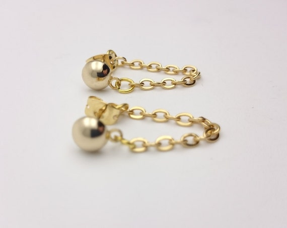 Ball and Chain Gold Earrings all stainless steel hypoallergenic