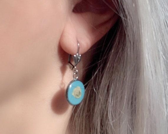 Earrings Dry Flowers Silver Drop Resin Stainless Steel