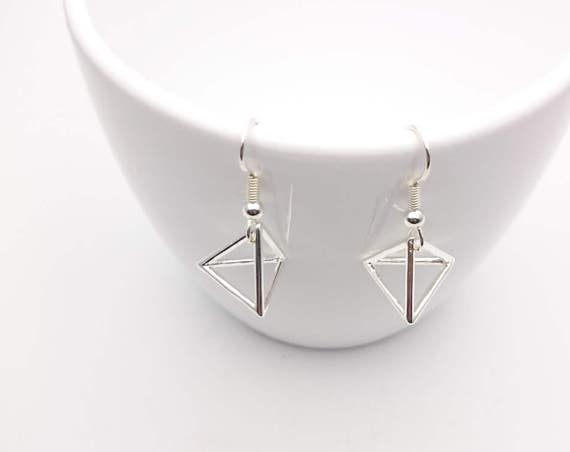 Silver Triangle Earrings Geometric steel hooks, Small Silver plated 925 Triangle pendant 3D and steel hooks