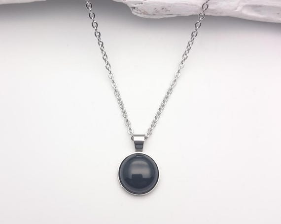 Black onyx silver necklace 12mm//Black onyx steel round necklace//Hypoallergenic black gem onyx necklace//Silver Steel black necklace