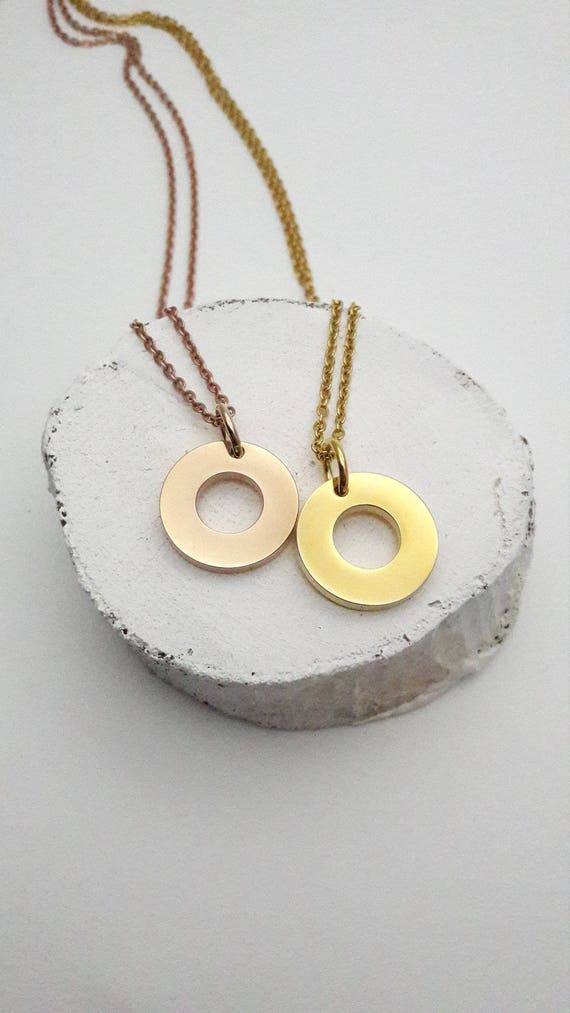 Gold stainless steel washer Necklace Yellow or rose gold ring loop