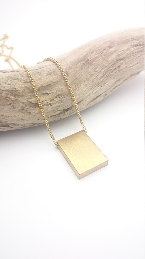 Necklace Gold Brass Cube Rectangle Bar 3D with long stainless steel chain