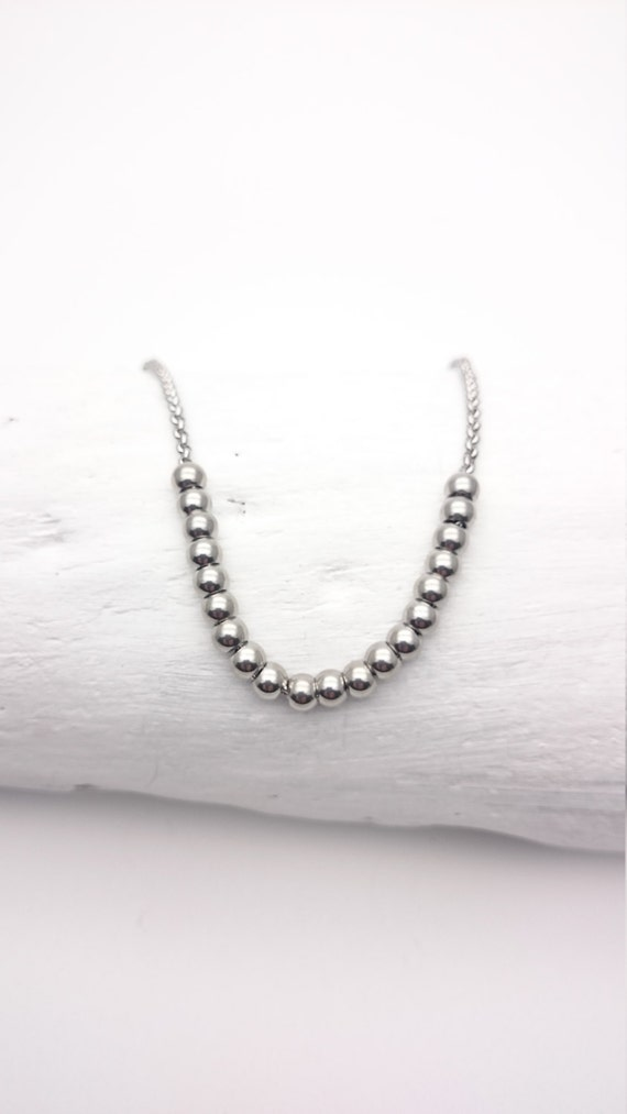 Long Necklace Silver Stainless Steel Chain and Pearl hypoallergeniclergenic necklace