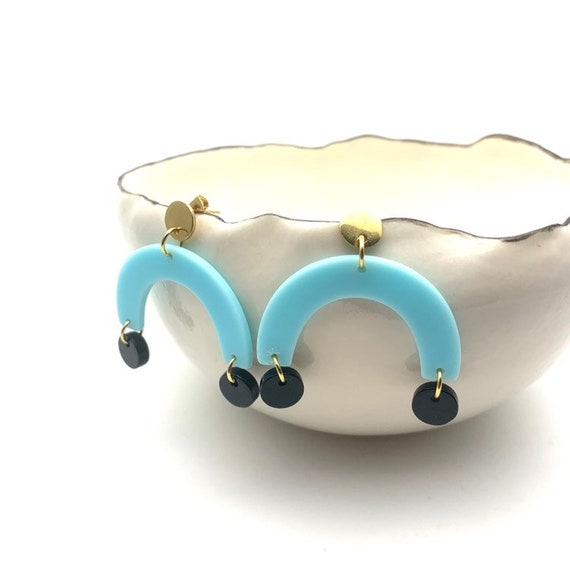 Blue and Black Earrings U shape, arc and circle acetate pendants with round gold steel closures