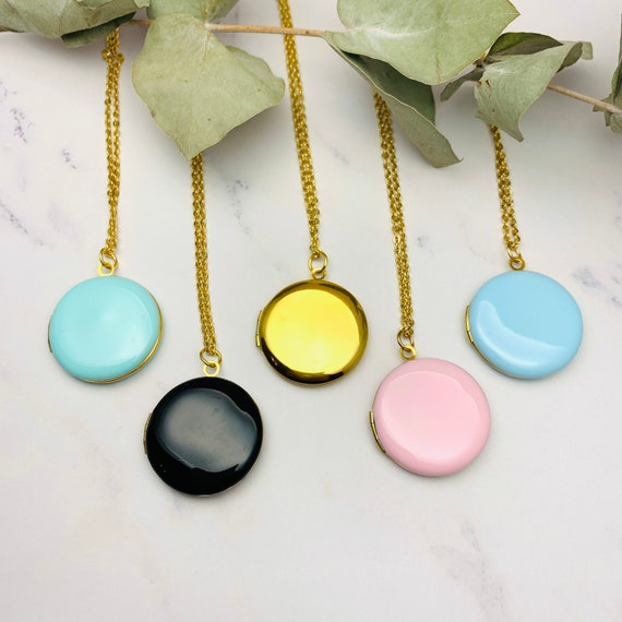 NEW - Round Photo Locket Enamel Necklace, gold surgical steel, personalized initial