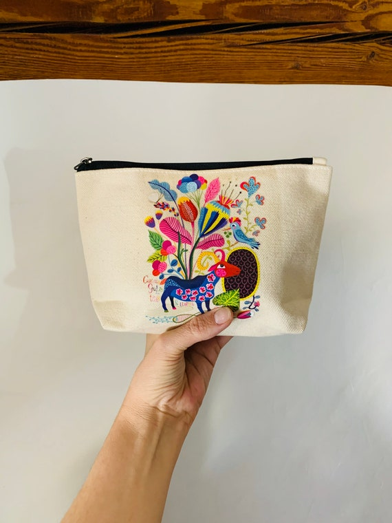 Color Goat Animal Pouch cotton canvas zip travel bag Cosmetic Jewelry Makeup Storage Accessory Organizer