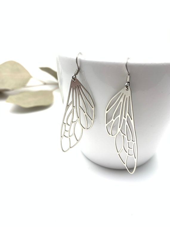 Silver Earrings Big Wings dangle stainless steel