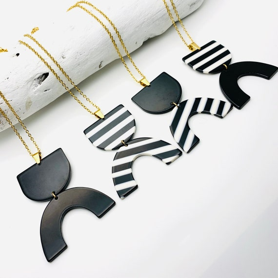 Long Black & White Necklace, acetate pendants with gold surgical steel chain