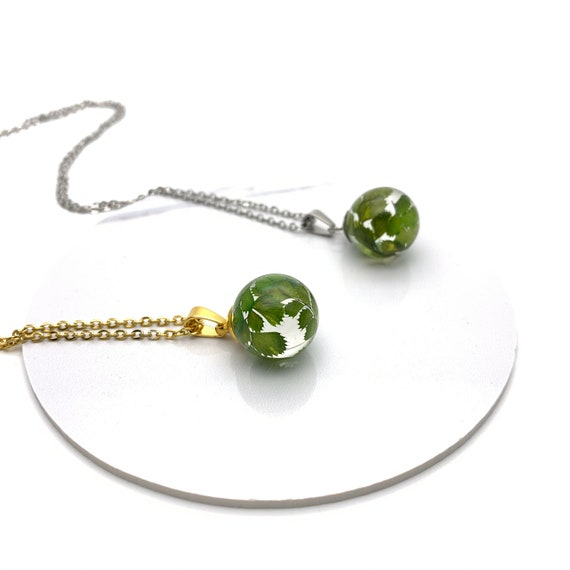 Small ball Necklace green leaves resin and silver or gold steel chain, botanical, terrarium