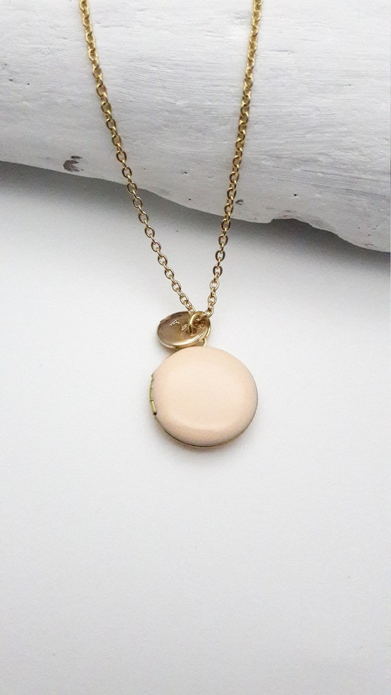 Personalized Soft Peach Enamel Round Small Photo Locket Necklace gold steel chain/Custom Monogram Locket/Initial Photo Locket hypoallergenic