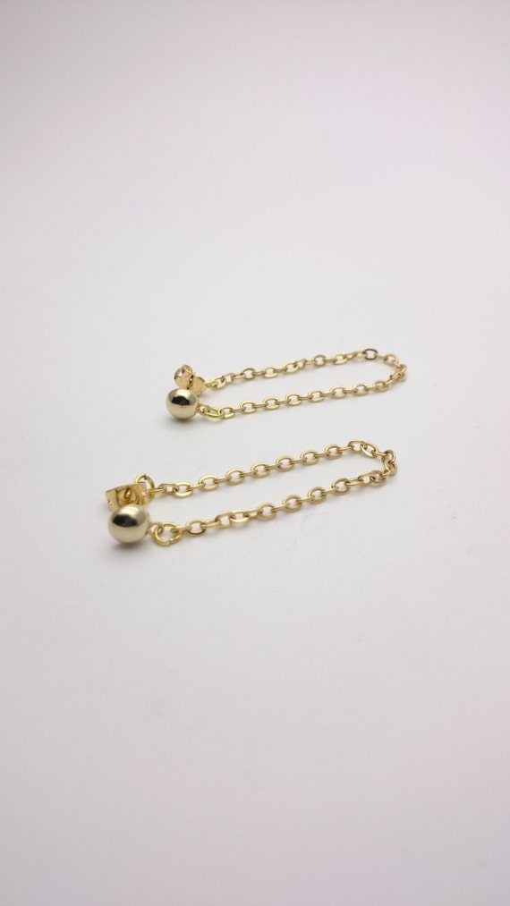 Long Ball and Chain Gold Earrings all stainless steel