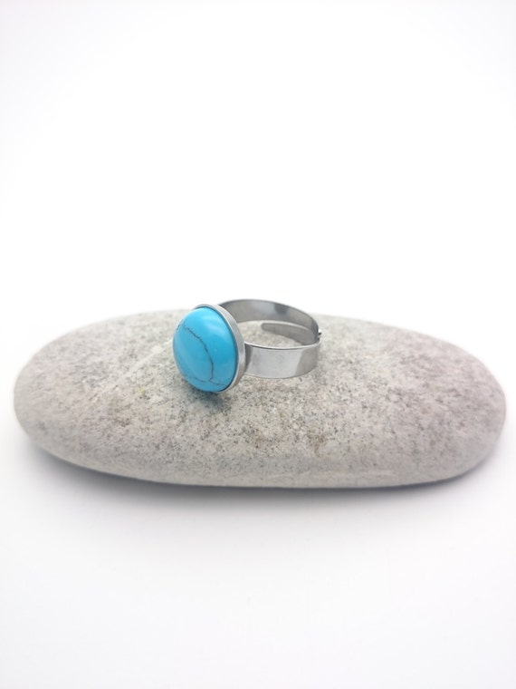 Turquoise Ring round silver steel adjustable and hypoallergenic