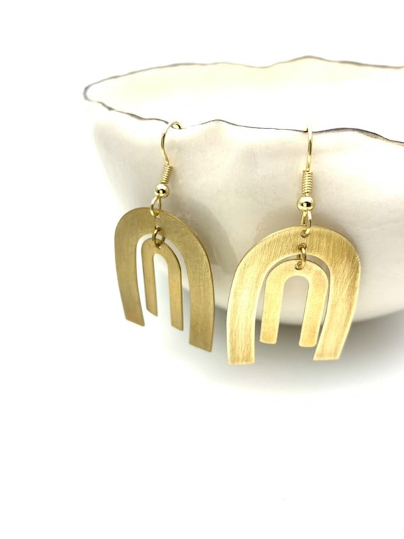 Gold Earrings Geometric Double Arcs U shape, brushed brass pendants with steel hooks