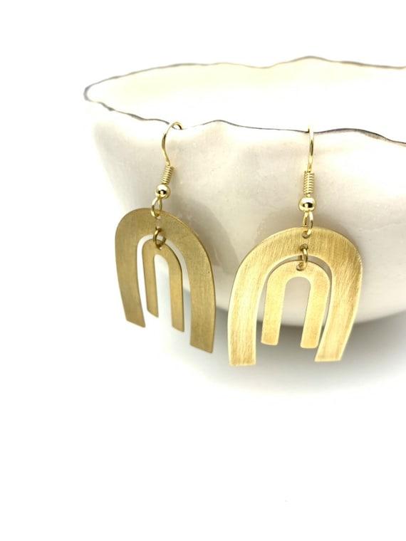 Gold Earrings Geometric Double Arcs U shape, brushed brass pendants with steel hooks