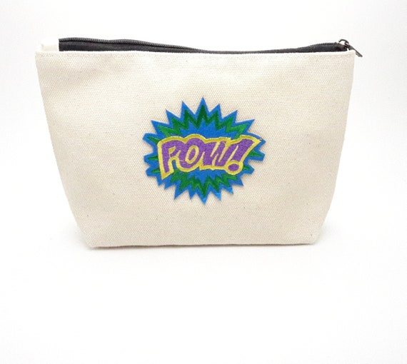 Cartoon Pow cotton canvas zip pouch//Embroidery patch travel bag//Cosmetic Jewelry Makeup Storage Travel Accessory Organizer Pouch