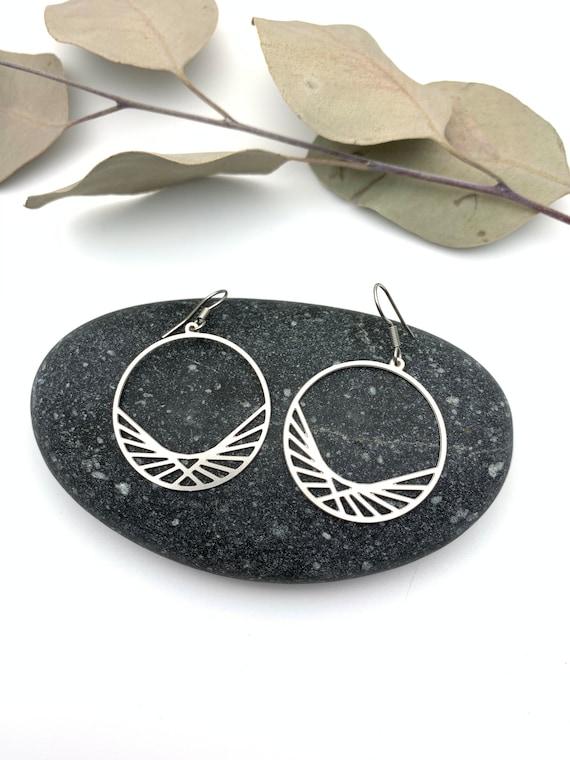 Silver Hoops Earrings HORIZON stainless steel