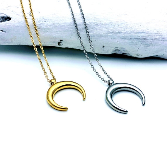 Gold or Silver Crescent Moon Necklace gold tone stainless steel