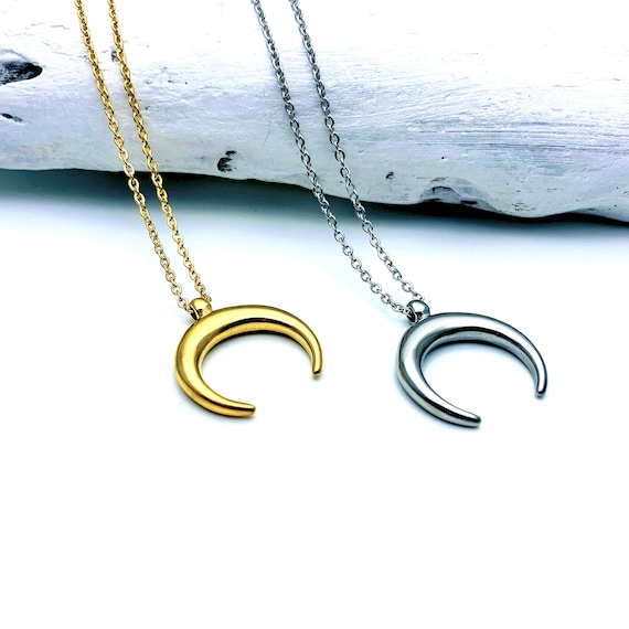 Necklace Gold or Silver Crescent Moon gold tone stainless steel