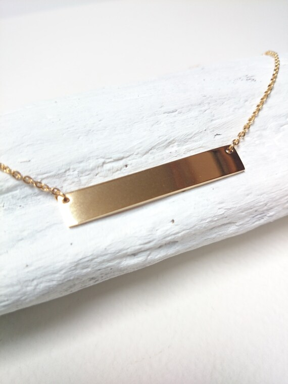 Gold Horizontal Bar Necklace stainless steel//Hypoallergenic Bar necklace//Geometric minimalist bar 18k yellow gold plated stainless steel