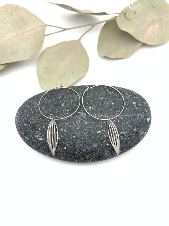 Silver Hoops Earrings long LEAVES stainless steel