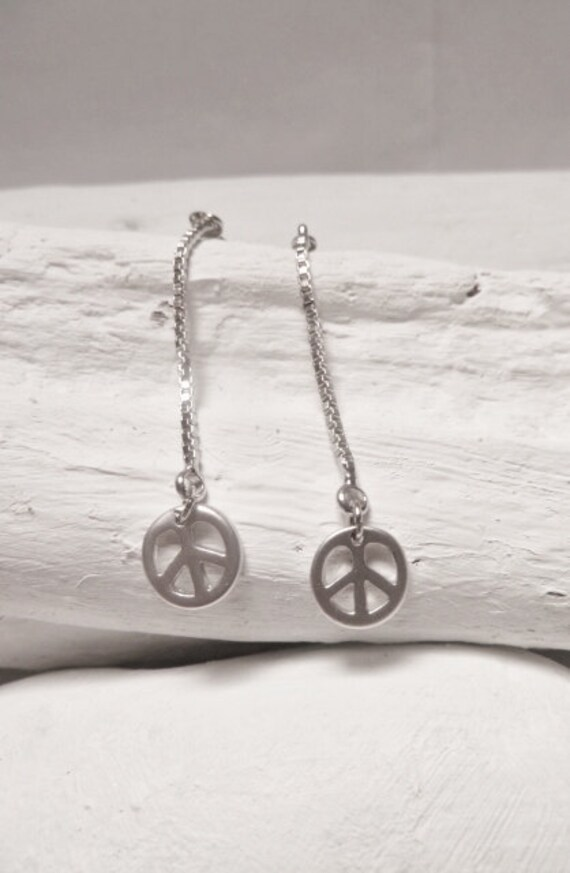 Peace and Love Earrings Silver Minimalist Pendants rhodium plated with gold plated copper 18k closures
