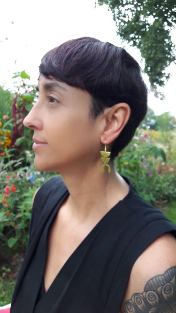 Gold Earrings geometric brushed brass pendants with steel hooks